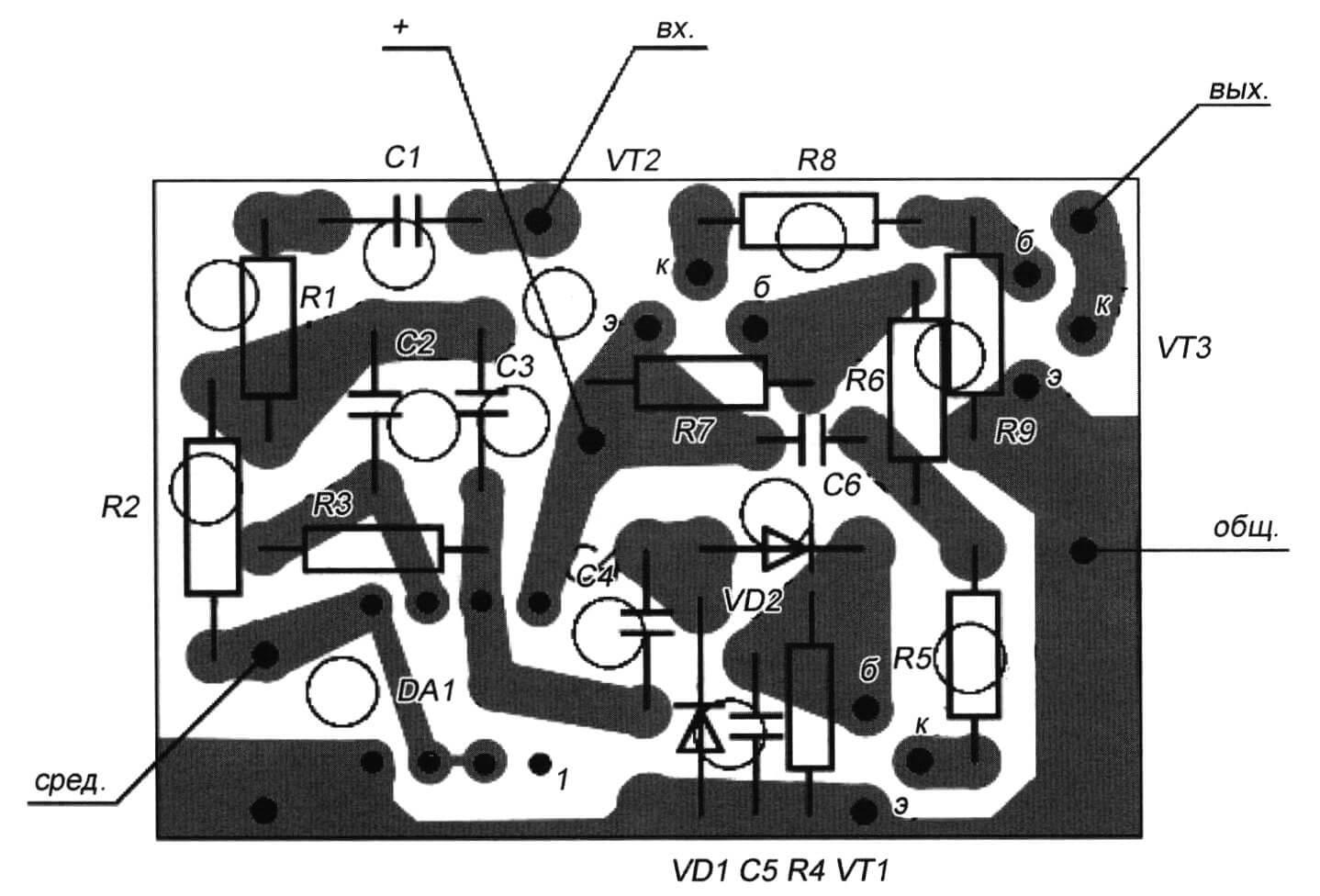 Рис. 7. Монтажная плата модуля ДД-1