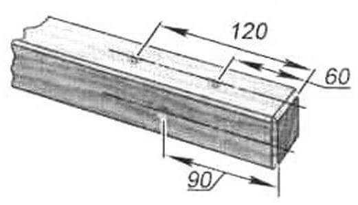 Разметка отверстий в верхней поперечине задней рамки - стыковка с вертикальной опорой и подлокотником (2 места)