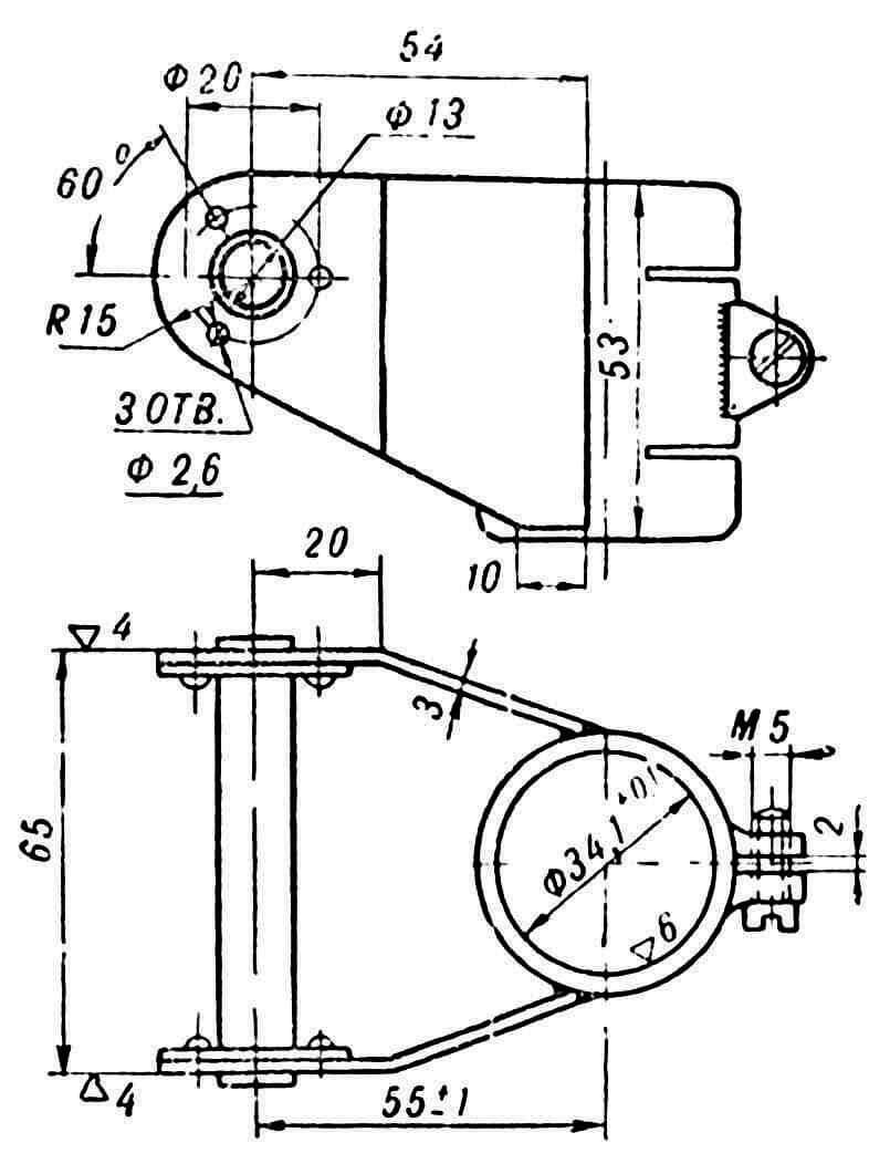 Узел подвески дейдвудной трубы (материал Ст20); щечки привариваются после сборки внутренней втулки, после чего деталь подвергается антикоррозийному покрытию.