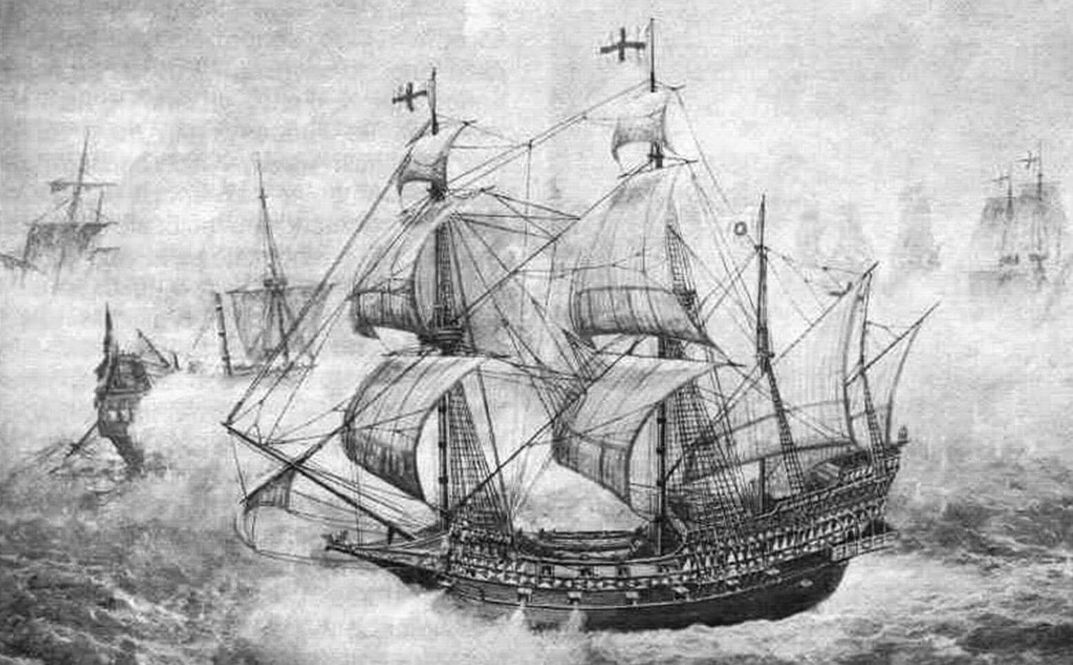 «Ривендж» вступает бой с многочисленной испанской эскадрой (г алеон в очередной раз изображен с брамселями). Английский корабль еще не получил повреждений, в то время как его врагам уже изрядно досталось