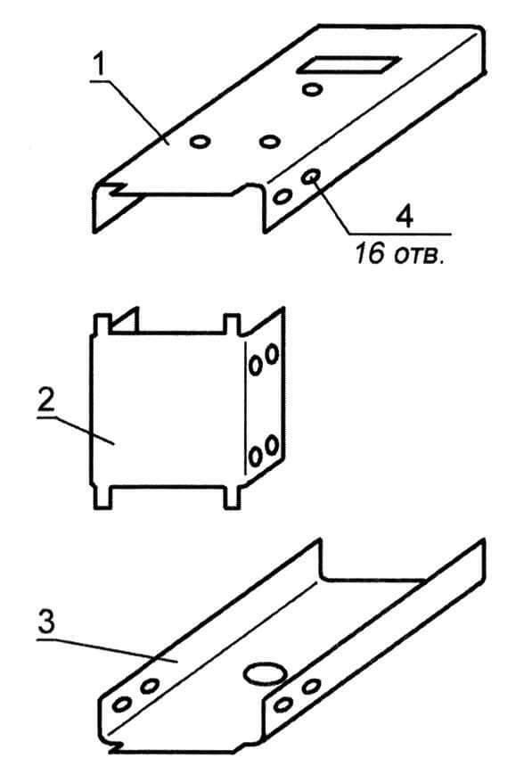 Детали струбцины: 1 - верхняя площадка; 2 - нижняя площадка; 3 - стенка; 4 - отверстие под заклепки