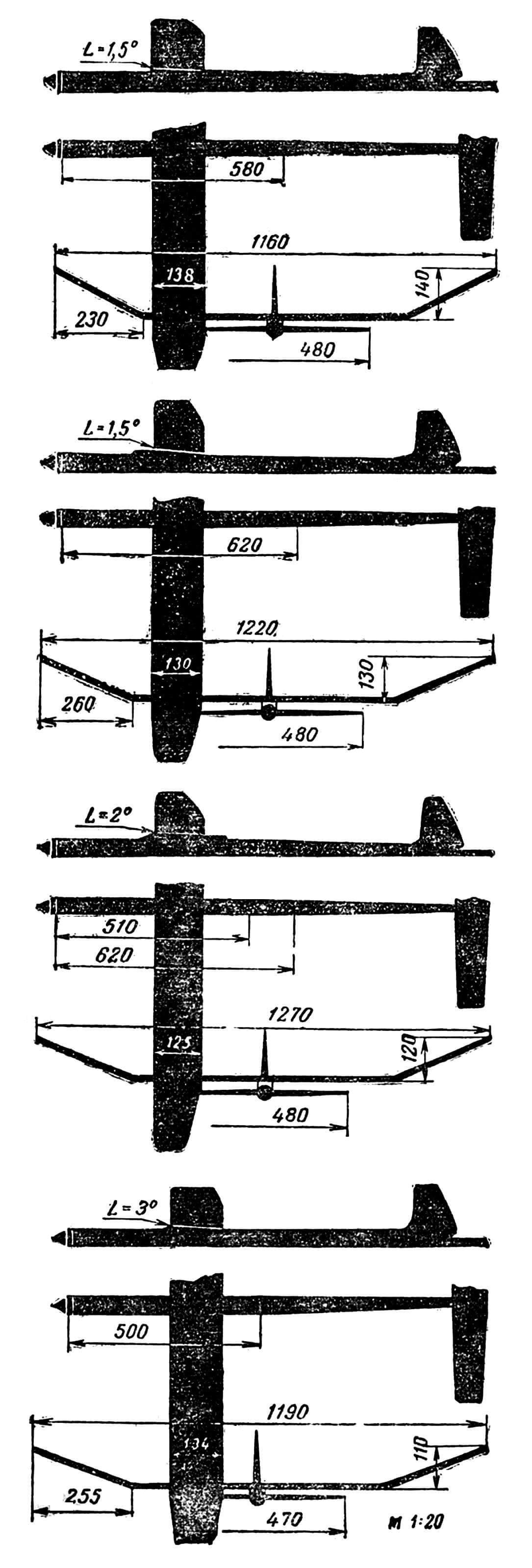 Модели, испытанные Е. Мелентьевым. Основное отличие каждой из них, влияющее на полет, — величина хорды крыла.