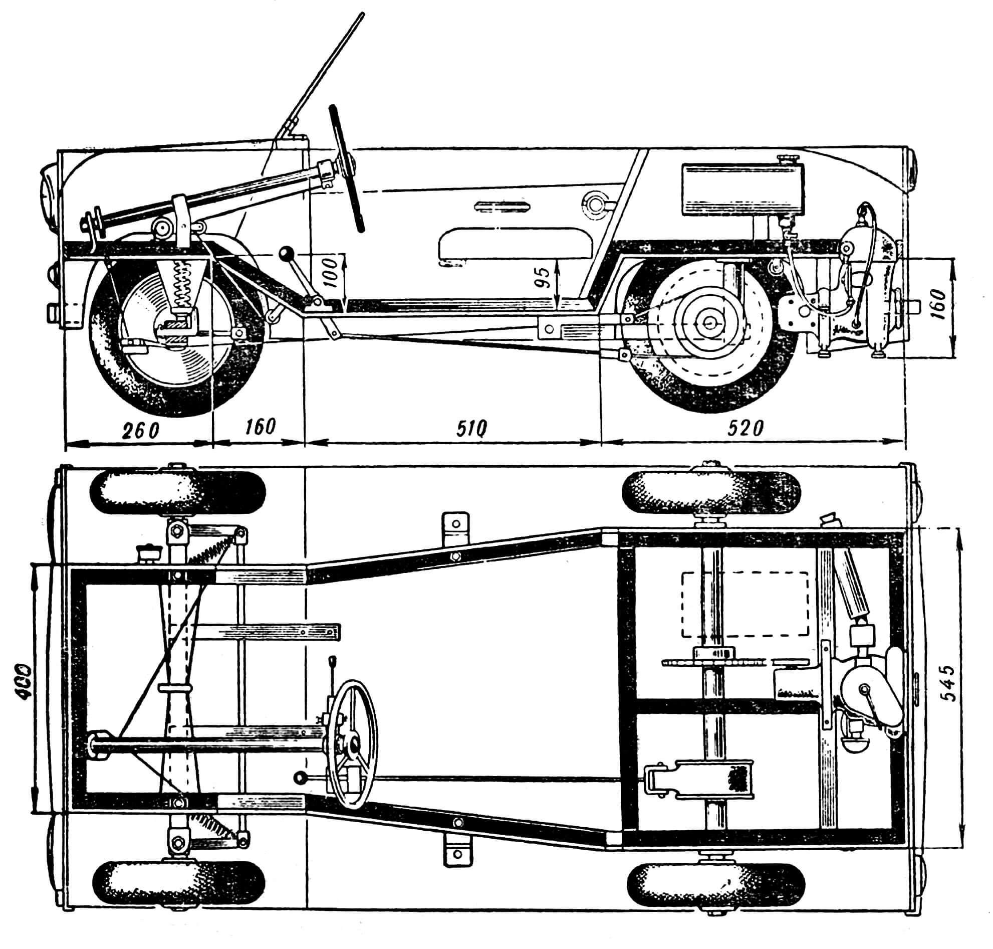 Рис 1. Вид машини сбоку и сверху