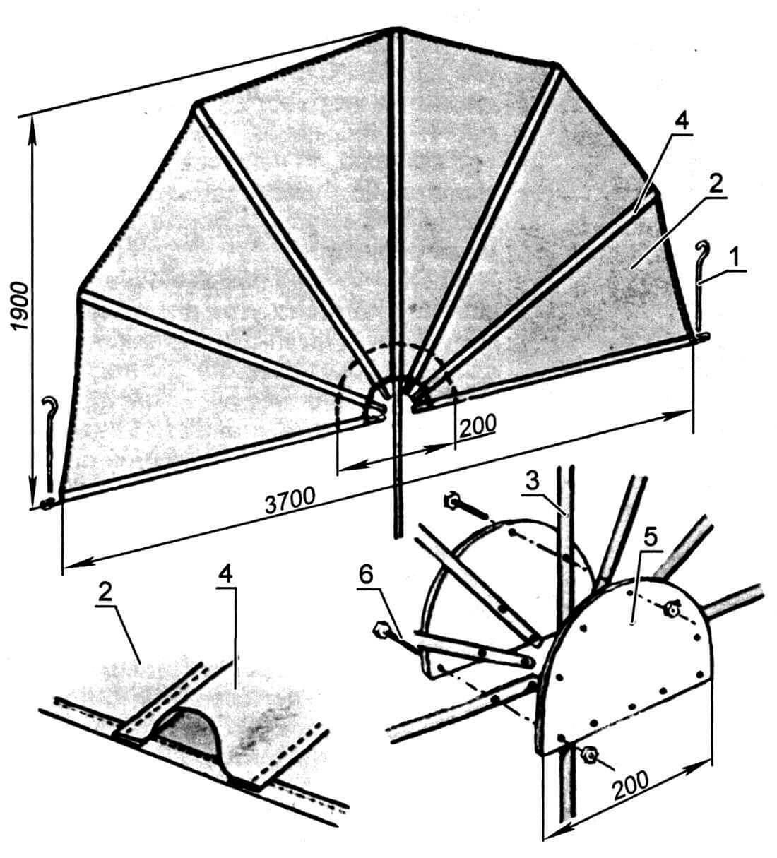 Ширма от ветра: 1 - угловая шпилька (сталь, ø4мм, 2 шт.); 2 - полотнище ширмы (брезент, капрон, S=6 м2); 3 - элемент каркаса (Д16 ø10-15x1 мм, длина 1800 мм - 6 шт., 2400 мм - 1 шт.); 4 - карман (7 шт.); 5 - фиксатор (текстолит, All-сплав, толщина 3 мм, 2 шт.); 6 - болт-гайка М4 (10 комплектов)