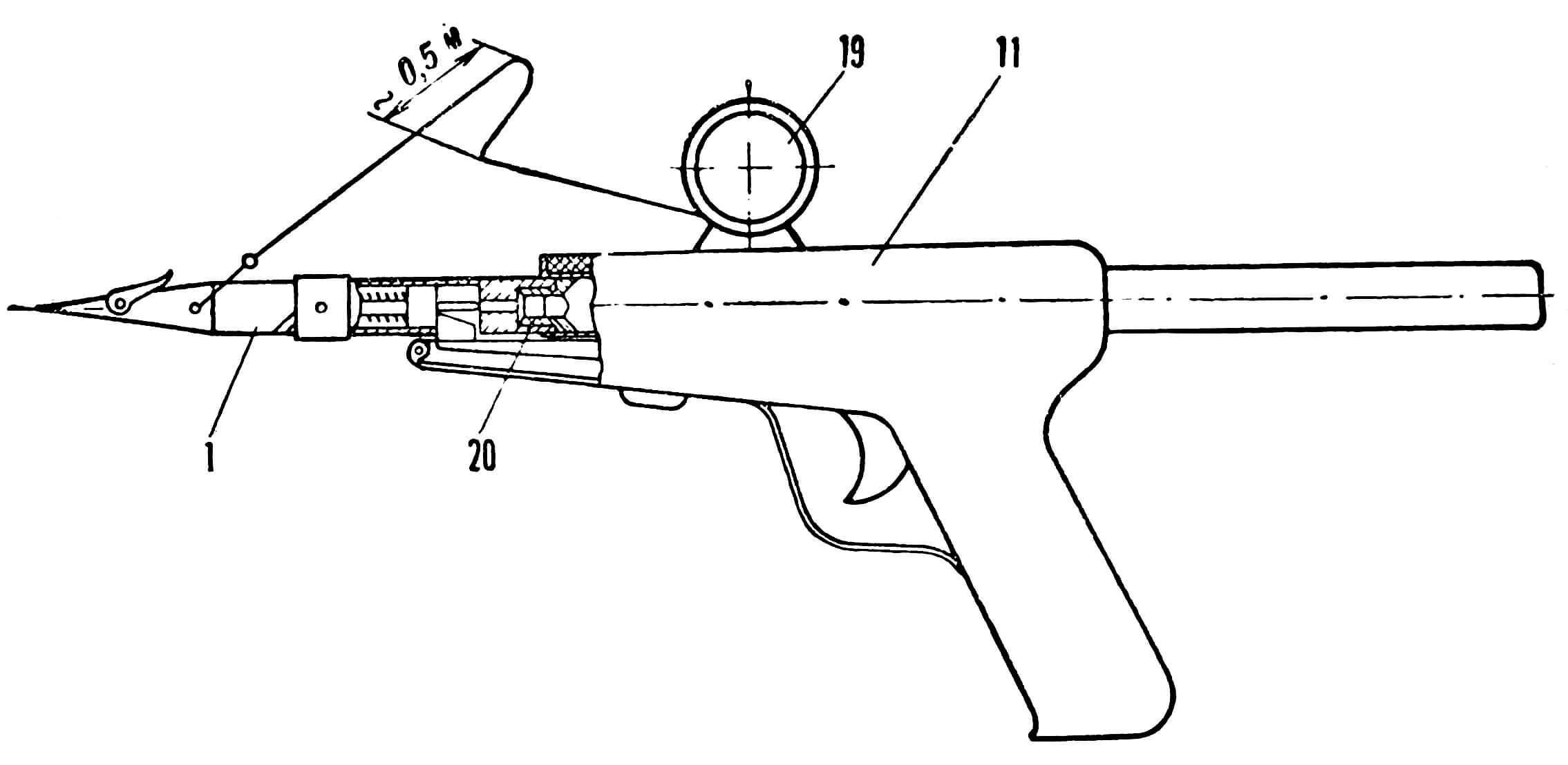 Рис. 1. Общий вид ружья и его детали.