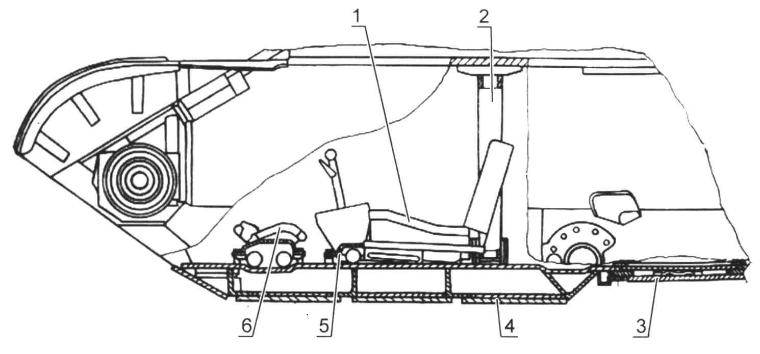 Противоминное броневое днище танка Т-62: 1 - быстросъемная подушка; 2 - распорная стойка; 3 - броневая крышка люка запасного выхода; 4 - броневой лист днища; 5 - литая скоба крепления кулисы; 6 - амортизационное ограждение передней пары торсионов