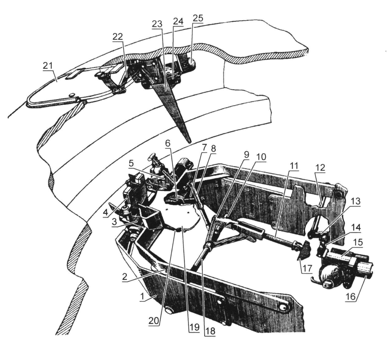 Механизм выброса стреляных гильз танка Т-62М: 1 - неподвижное ограждение; 2 - рамка; 3 - захват; 4 - задняя стенка ограждения; 5 - фиксатор взведения и сброса захвата; 6 - пружина; 7 - шток; 8 - зацеп; 9, 23 - копиры; 10 - штифт; 11, 12 - тяги; 13, 14 - рычаги; 15, 24 - редукторы; 16,23 - электродвигатели; 17 - казенник пушки; 18 - вал; 19 - лоток; 20 - пружина; 21 - крышка люка; 22 - привод крышки люка