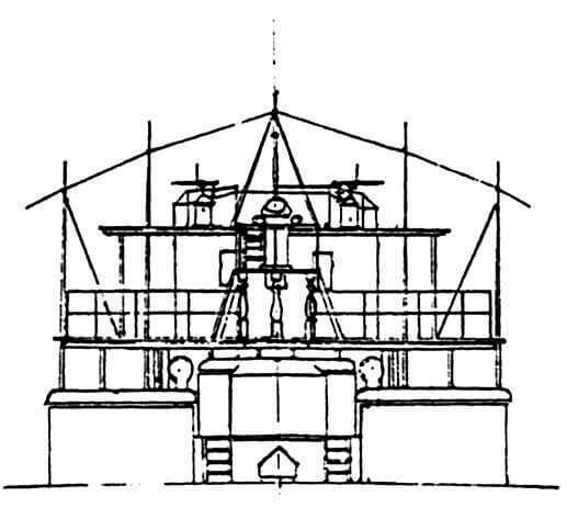 Вид на носовой мостик, боевую и ходовую рубки с кормы