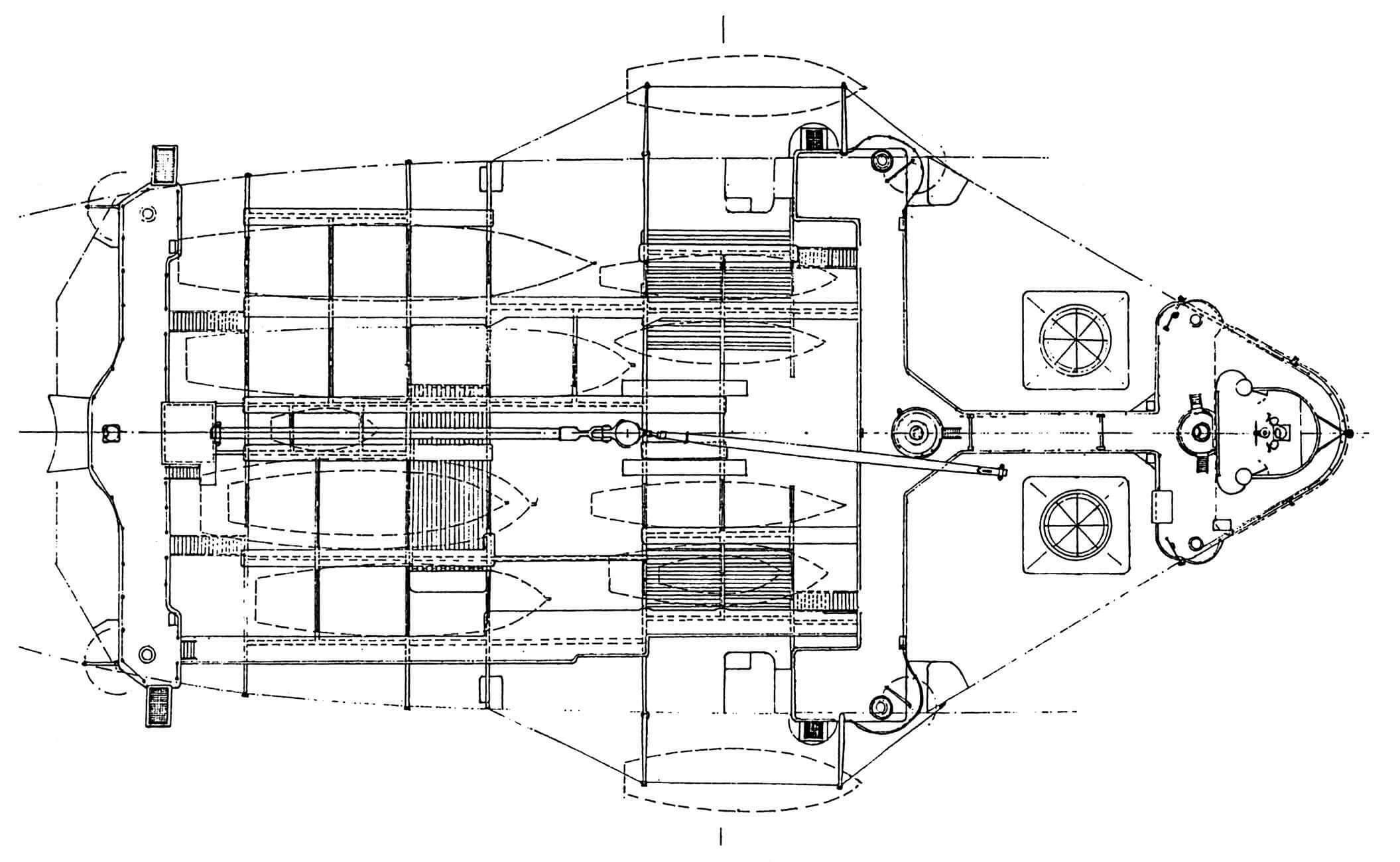 Навесная палуба с кормовым, переходным мостиками и нижним ярусом носового мостика