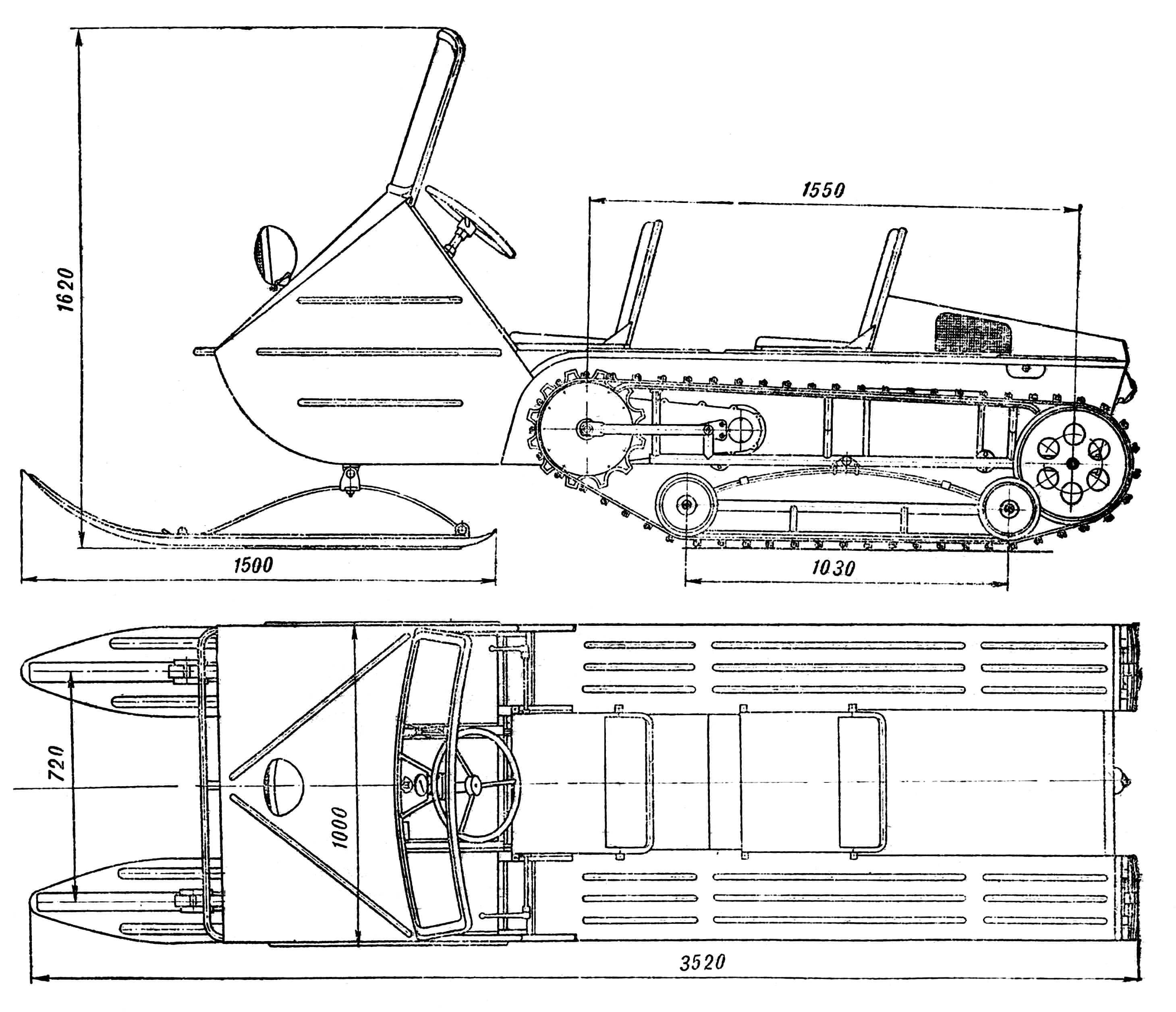Рис. 1. Снегоход-мотонарты МС-ГПИ-15А, созданные в Горьковском политехническом институте.