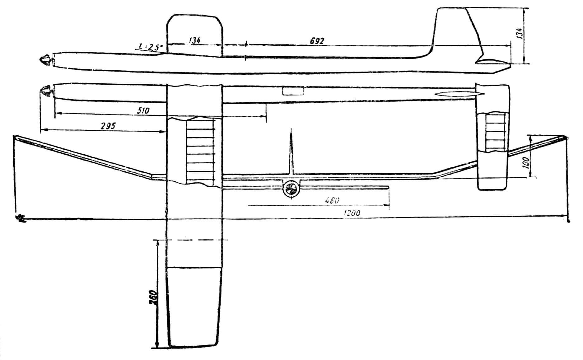 Резиномоторная модель, с которой Е. Мелентьев выступал на чемпионатах мира в ЧССР в 1967 году и в Австрии в 1969 году.