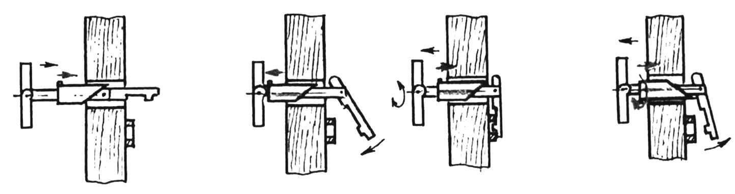 Схема действий при открывании-закрывании замка
