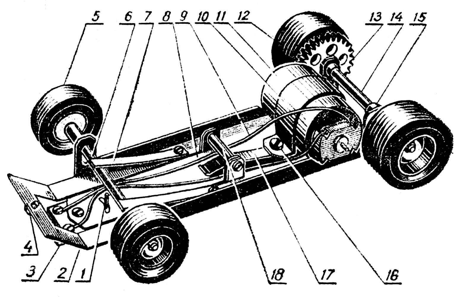 Рис. 2. Шасси: 1 — упор; 2 — рама; 3 — направляющий рычаг; 4 — винт крепления кузова к шасси; 5 — переднее колесо; 6 — ось переднего моста; 7 — рессора; 8 — качающийся рычаг токосъемника; 9 — электрические провода; 10 — хомутик крепления микроэлектродвигателя; 11 — микроэлектродвигатель; 12 — ведущее колесо; 13 — силовая передача; 14 — ведущая ось; 15 — подшипник; 16 — винт крепления хомутика и пружины токосъемника; 17 — пружина токосъемника; 18 — ось качающегося рычага с распорной втулкой.
