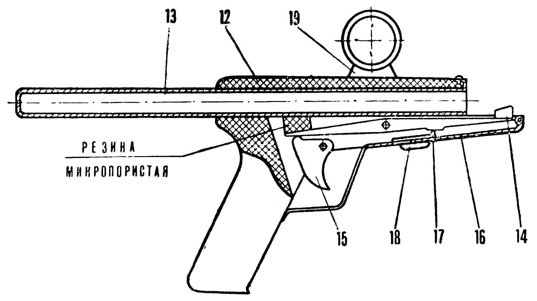 Рис. 2. Ствол (позиции указаны в перечне основных деталей ружья).