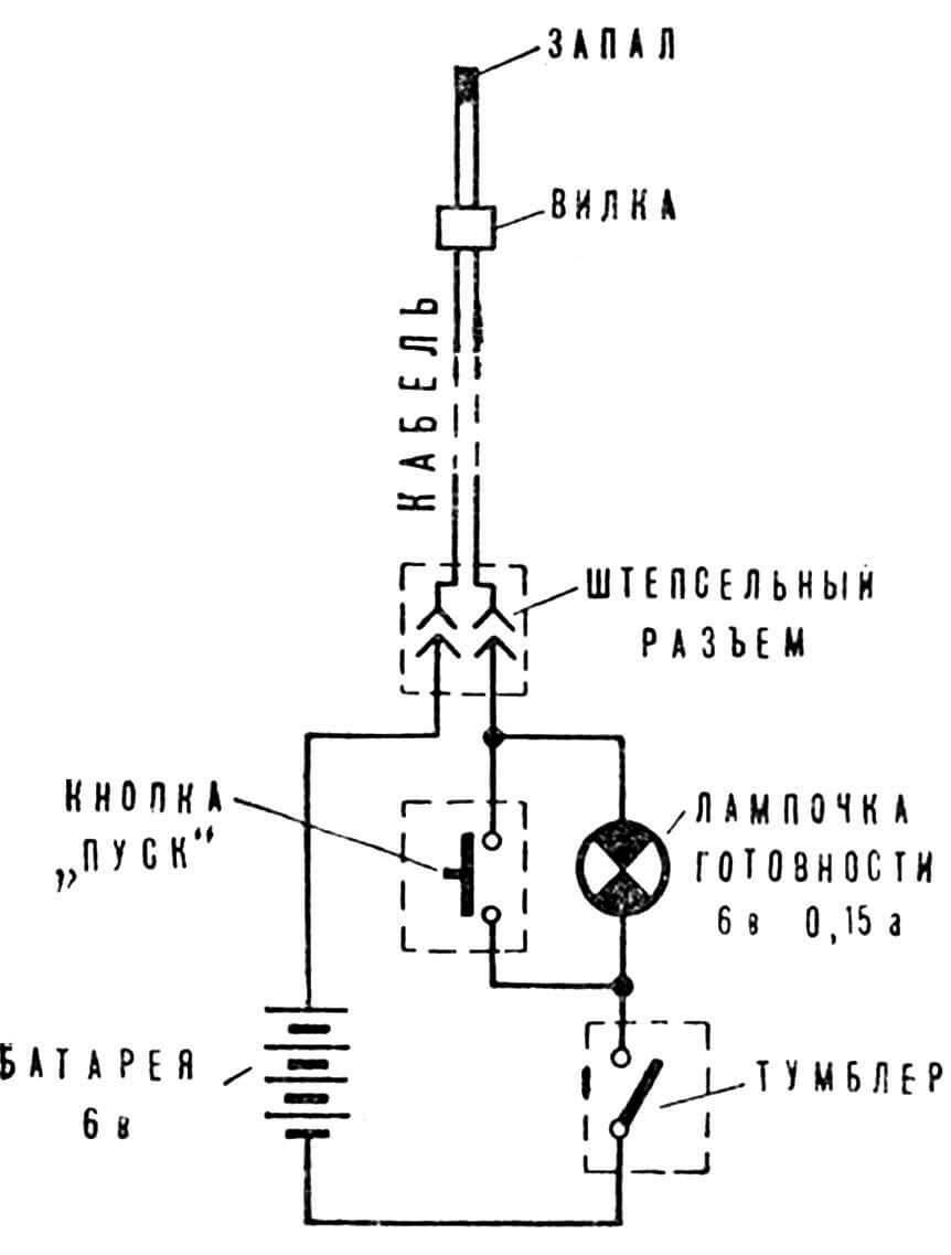 Рис. 2. Электрическая схема одноканального пульта запуска.