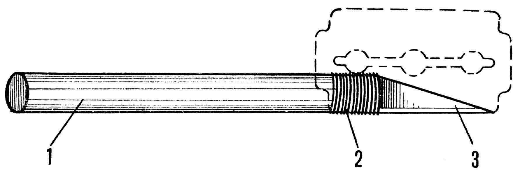 Рис. 2. Нож для изготовления модели: 1 — деревянная ручка; 2 — нитки для крепления лезвия; 3 — лезвие.