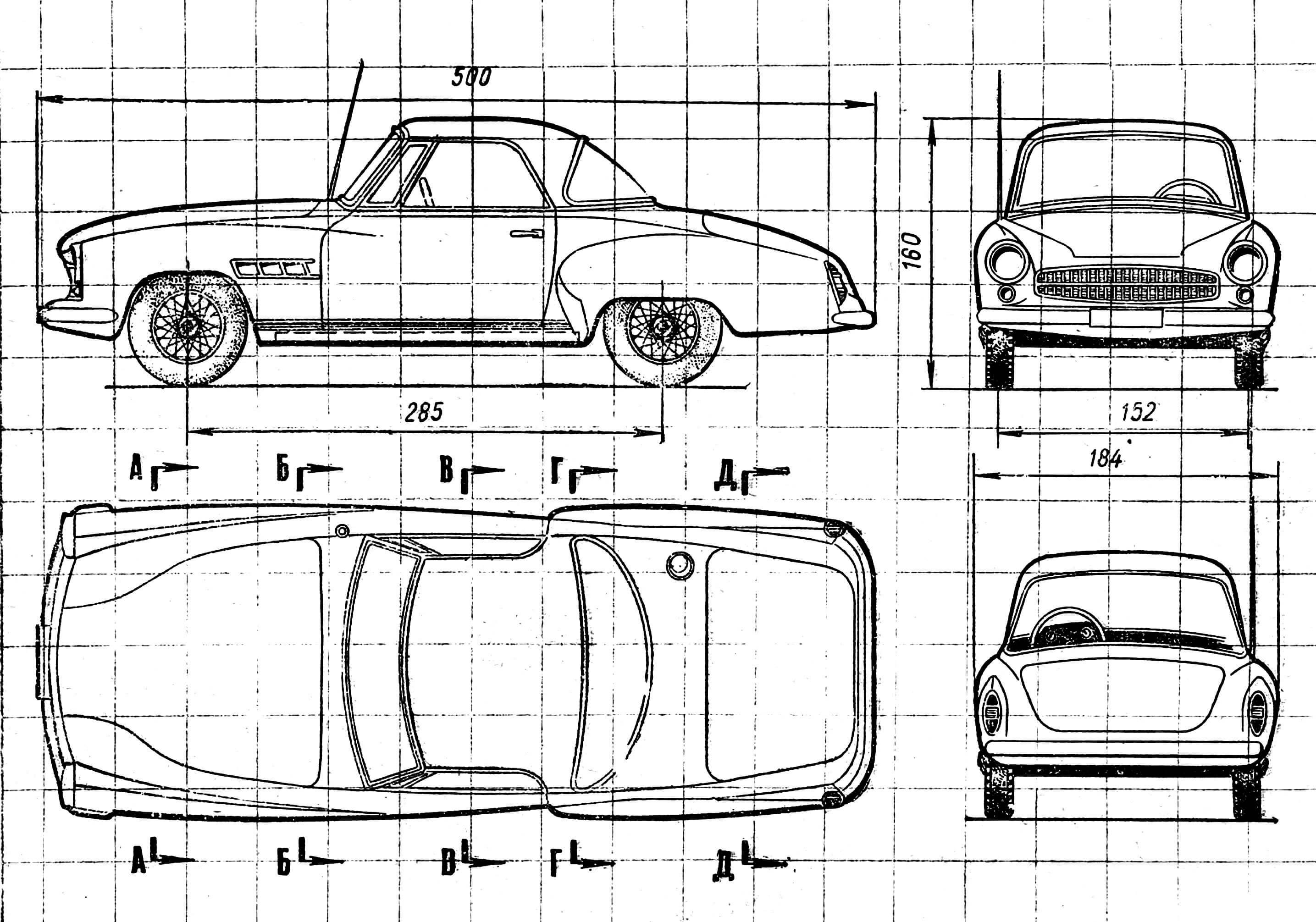 Схема и шалоны кузова модели. шаблоны прикладываються к местам, обозначенным буквами