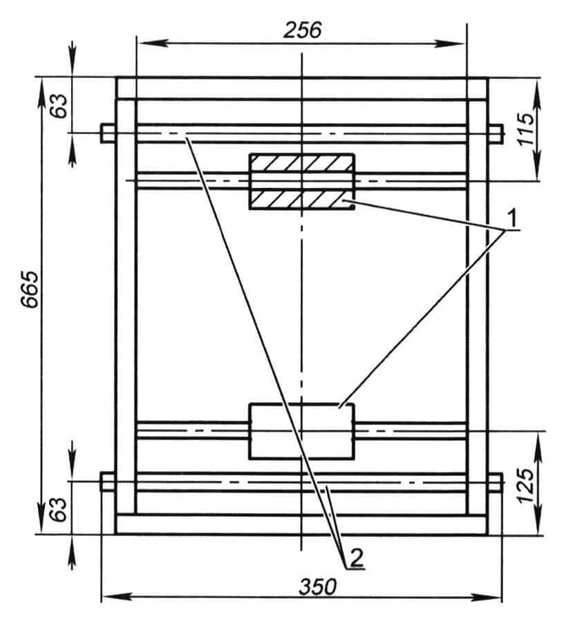 Рамка тележки: 1 - бобышки внутренним ᴓ25; 2 - ось рычагов ᴓ16