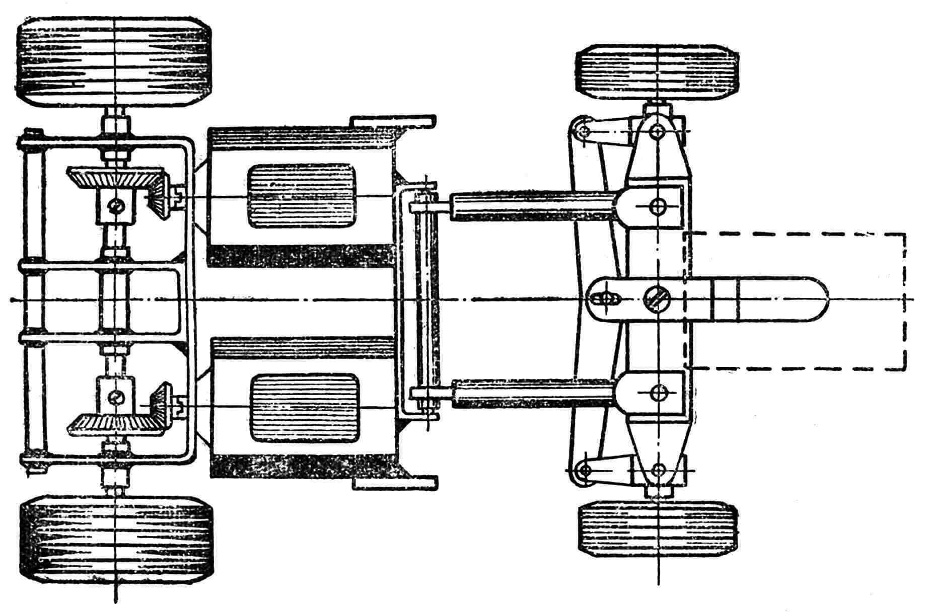 Рис. 3. Вид в плане шасси модели.