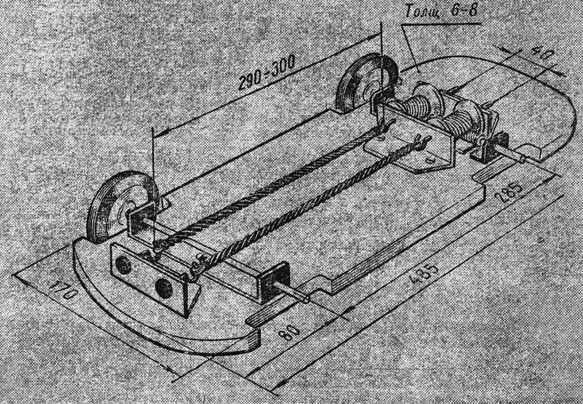 Рама, подвески и устройство резиномотора параллельного типа.