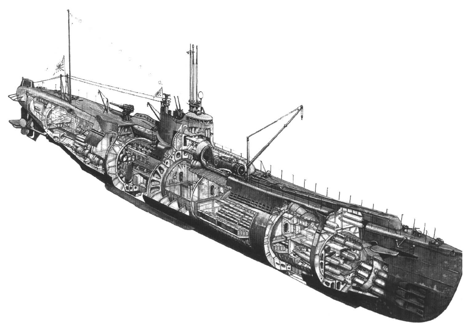 Компоновка японской подводной лодки-авианосца. Перед рубкой виден цилиндрический ангар с размещенным в нем самолетом без консолей крыла