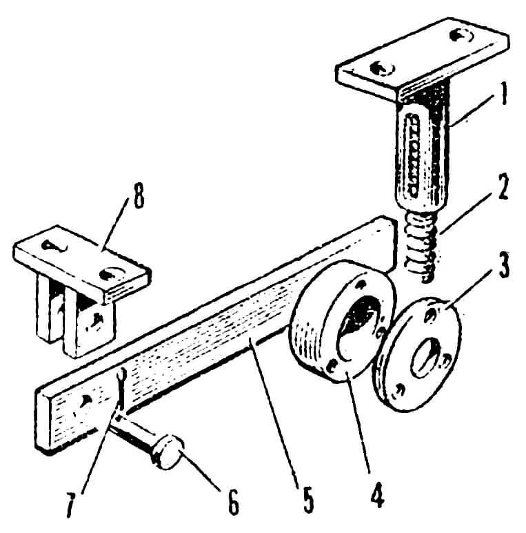 Рис. 5. Задняя подвеска: 1 — корпус амортизатора; 2— пружина; 3 — крышка корпуса подшипника; 4 — корпус подшипника; 5 — рычаг; 6 — ось; 7 — шплинт; 8 — кронштейн.