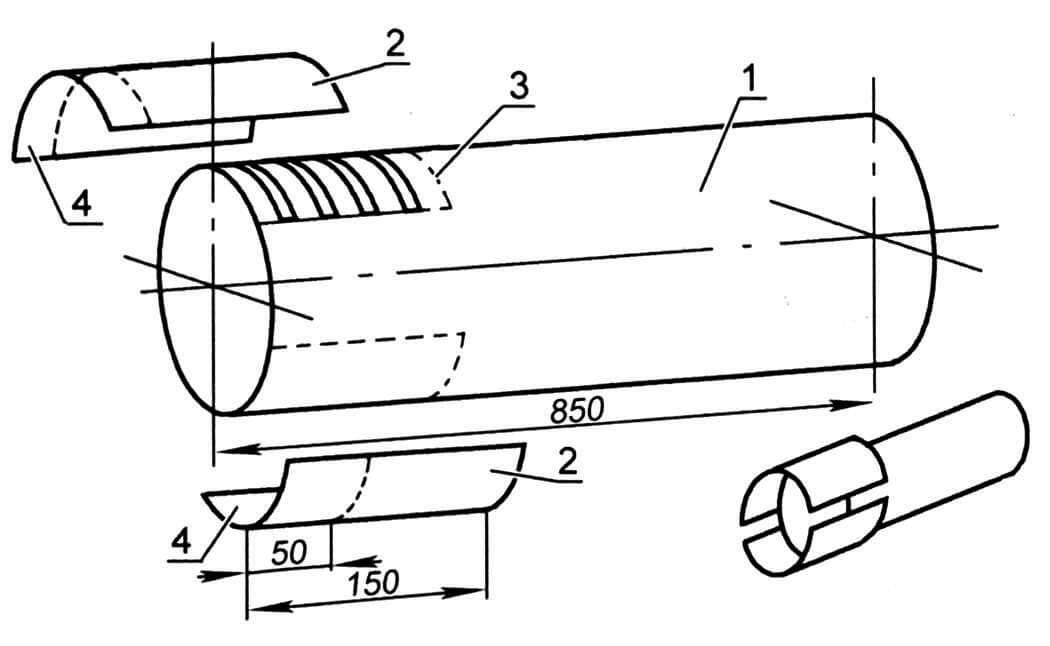 Многосекционный дымоход: 1 - труба (диаметр 100 мм); 2 - половинки цоколя; 3 - места сварки; 4 - часть цоколя, насаживаемая на нижнюю секцию дымохода