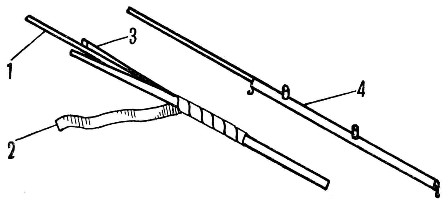 Рис. 6. Изготовление фюзеляжа: 1 — спица; 2 — полоска тонкой бумаги; 3 — бальза; 4 — фюзеляж в сборе.