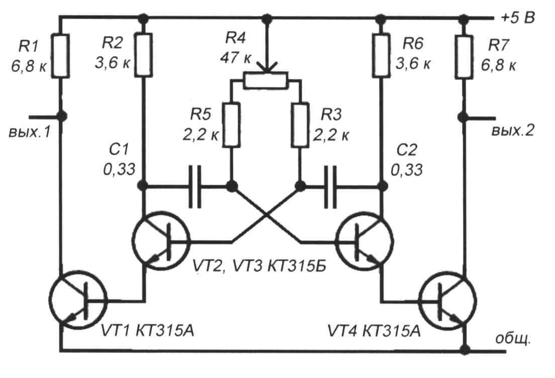 Рис. 8 Принципиальная схема мультивибратора