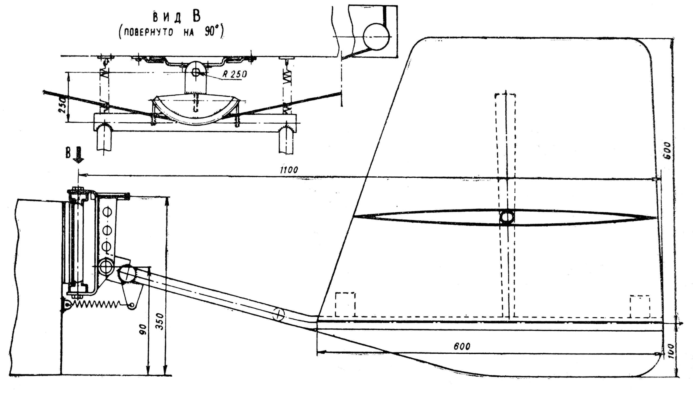 Рис. 7. Устройство комбинированных подпружиненных рулей.