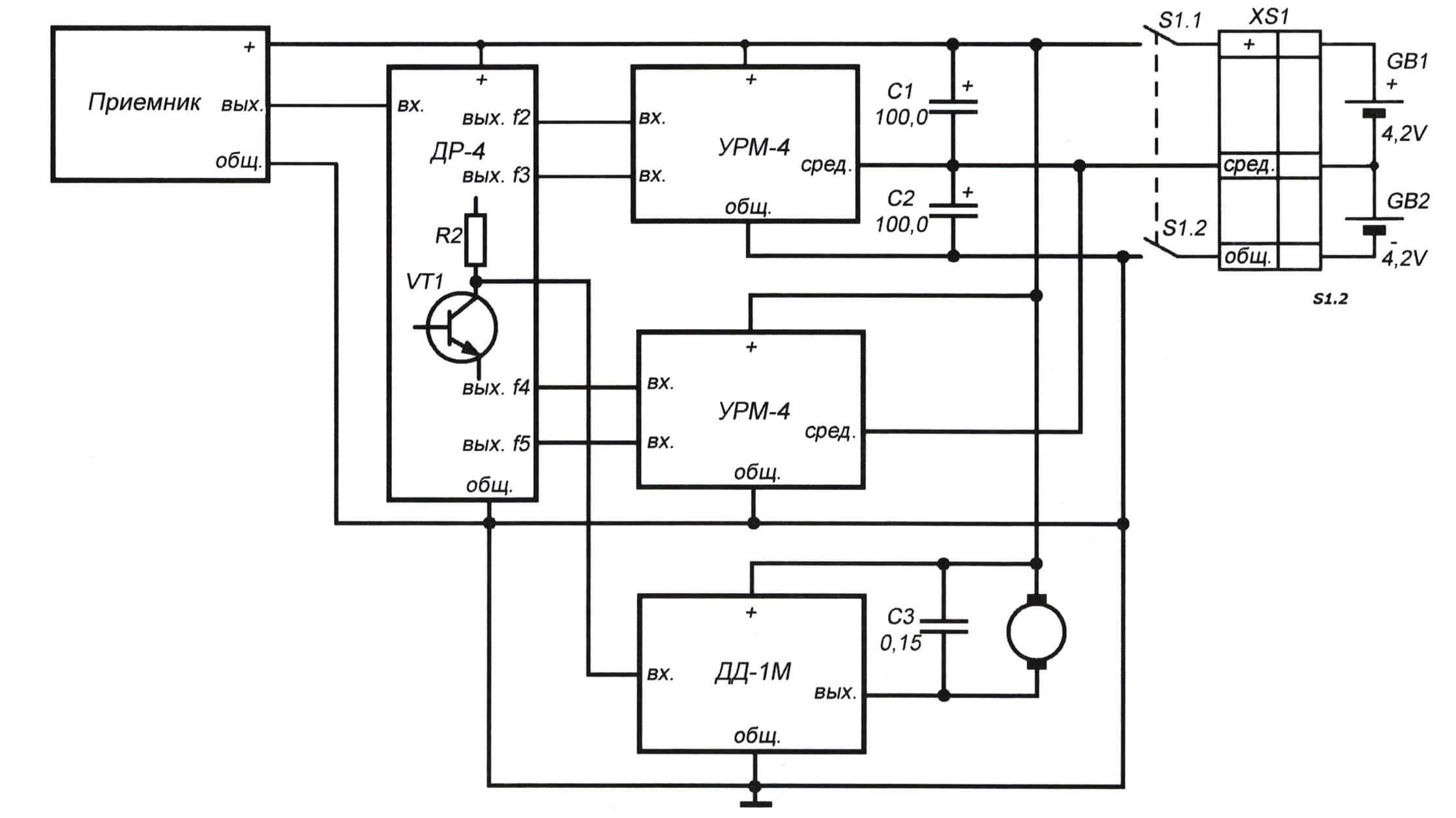Система «Каната-Д», бортовая часть. Схема межблочных соединений