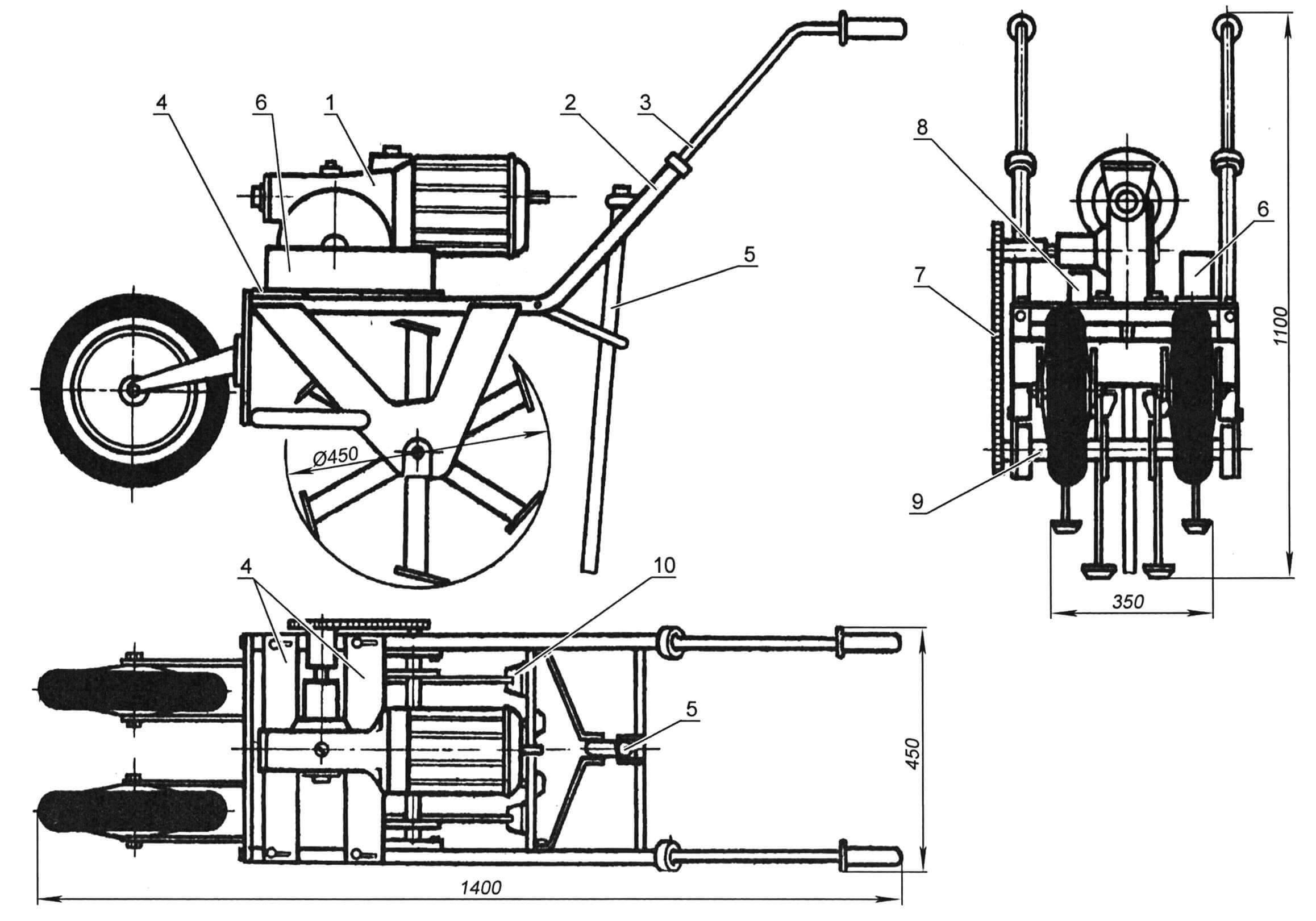Электрофреза в сборе: 1 - мотор-редуктор; 2 - рама; 3 - ручки управления; 4 - пластины крепления мотор-редуктора; 5 - тормоз; 6 - основная батарея конденсаторов; 7 - цепь; 8 - пусковые конденсаторы; 9 - вал фрезы; 10 - нож фрезы