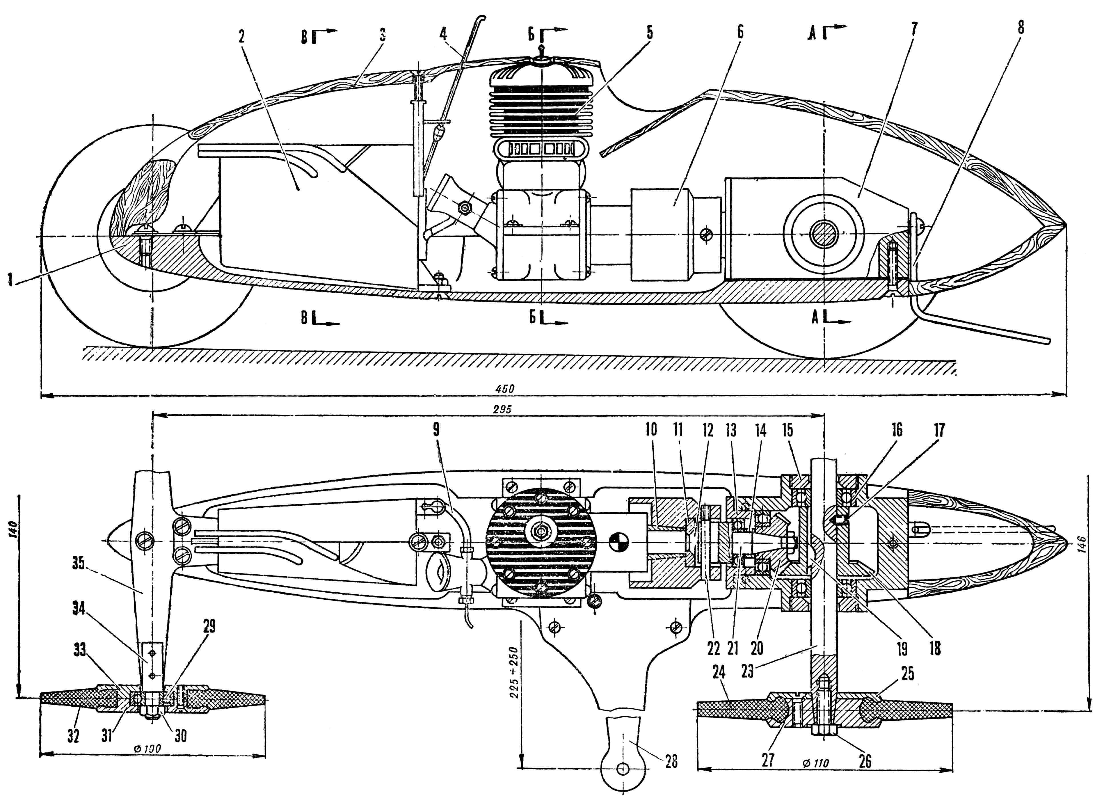 РИС. 1. МОДЕЛЬ ГОНОЧНОГО АВТОМОБИЛЯ КЛАССА 10 см3 (построенная по типу «Стрела»): 1—рама; 2 — топливный бак; 3 — обтекатель; 4 — антенна остановочного приспособления; 5 — двигатель; 6 — маховик; 7 — корпус редуктора; 8 — упорный костыль; 9 — топливная трубка; 10 — конусная втулка; 11 — упорная шайба; 12 — винт крепления маховика; 13 — упорная втулка; 14 — распорная втулка; 15 — резьбовая втулка; 16 — подшипник; 17 — установочный винт; 18 — ведомое зубчатое колесо редуктора; 19 — сегментная шпонка; 20 —_ведущее зубчатое колесо; 21 — вал ведущего зубчатого колеса; 22 — шпилька; 23 — ведущая ось; 24 и 32 — шины; 25 и 27— диски заднего колеса; 26 —винт; 28 — кордовая планка; 29 — подшипник; 30 — гайка; 31 и 33 —диски переднего колеса; 34 — цапфа; 35 пластина передней подвески.
