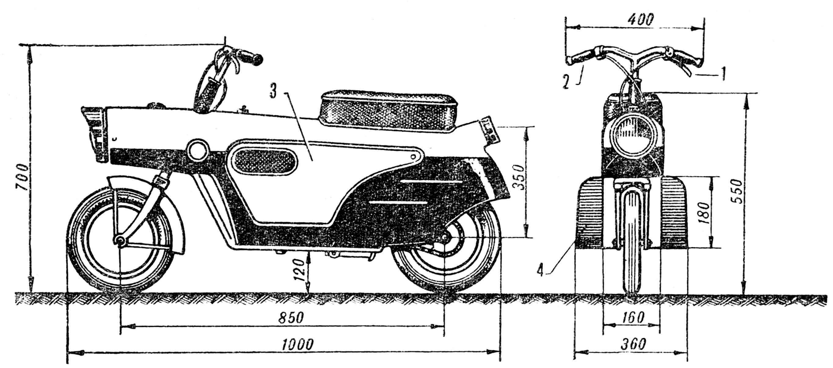 РИС. 1. ОБЩИЙ ВИД МИКРОМОТОЦИКЛА «БЕЛКА»: 1 — рычаг сцепления; 2 — рукоятка газа; 3 — крышки окон для доступа к двигателю; 4 — подножки с брызговиками.
