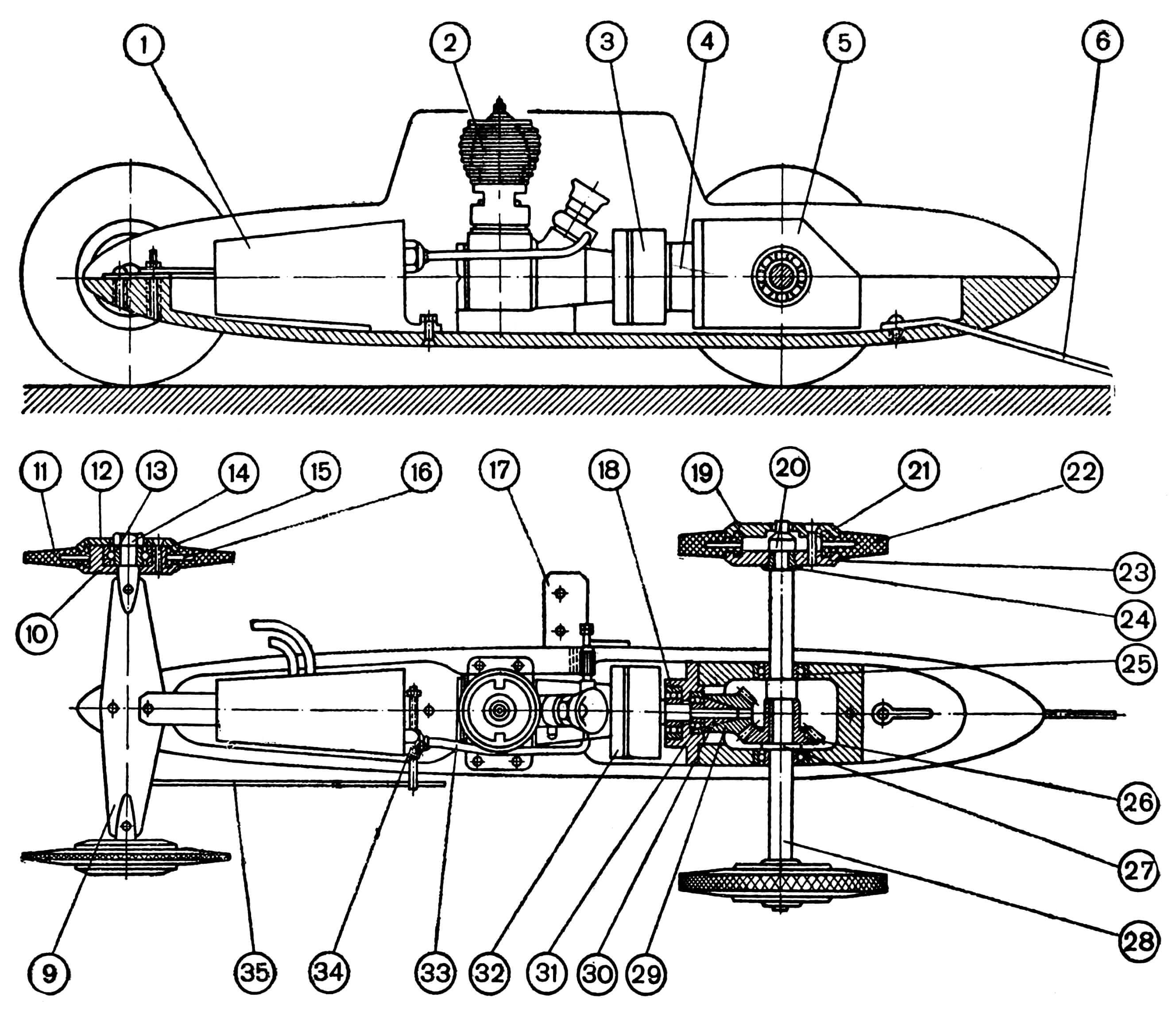 РИС. 1. СБОРОЧНЫЙ ЧЕРТЕЖ МОДЕЛИ ГОНОЧНОГО АВТОМОБИЛЯ (КОНСТРУКЦИИ С. КАЗАНКОВА). 1 — топливный бак (жесть); 2 — двигатель; 3 — вал ведущего зубчатого колеса (сталь 45); 4 — фланец (Д16); 5 — корпус редуктора (Д16); 6 — упорный костыль (проволока ОВС); 7 — крышка (липа); 8 — рама (Д16); 9 — передняя подвеска с двумя полуосями (пружинная сталь и сталь 45); 10 — внутренний диск переднего колеса (Д16); 11 — шина переднего колеса (резина); 12 — наружный диск переднего колеса (Д16); 13 — подшипник; 14 — гайка переднего колеса; 15 — винт переднего колеса М2,6 (с потайной головкой); 16 — диск (латунь); 17 — кронштейн кордовой планки (Д16, уголок); 18 — подшипник; 19 — наружный диск заднего колеса (Д16); 20 — гайка заднего колеса; 21 — винт заднего колеса М3 (с потайной головкой); 22 — шина заднего колеса (резина); 23 — внутренний диск заднего колеса (Д16); 24 — конусная втулка (латунь); 25 _ подшипник; 26 — ведомое зубчатое колесо (сталь 45, m =1, z=25); 27 — шайба (сталь); 28 — ведущая ось (сталь 45); 29 — ведущее зубчатое колесо (сталь 45, m = 1, z = 15); 30 — конусная втулка (латонь); 31 — подшипник; 32 — маховик двигателя (Д16); 33 — топливная трубка (хлорвинил); 34 — краник остановочного приспособления (латунь); 35 — антенна остановочного приспособления (проволока ОВС).