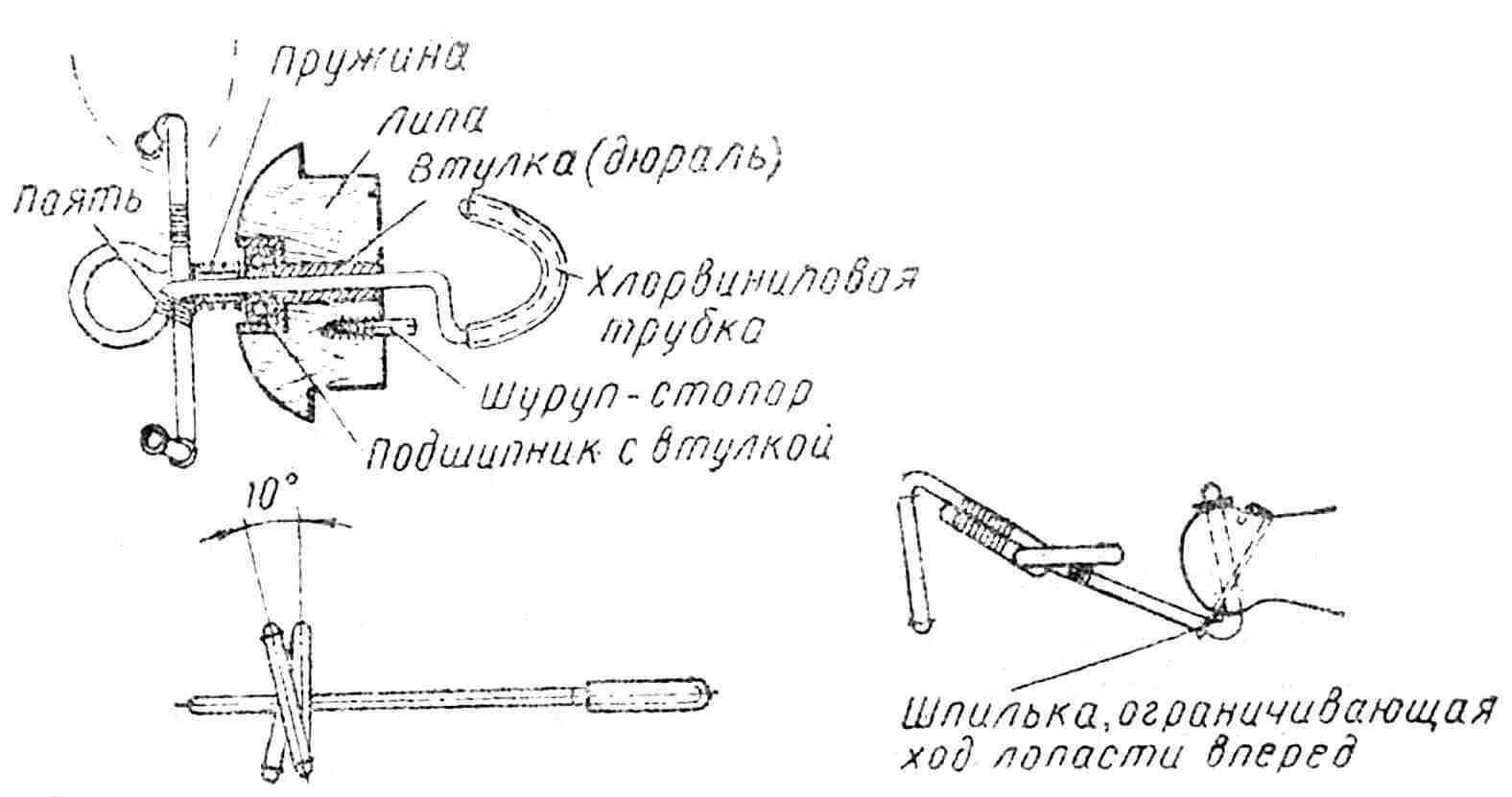 Рис. 11. Общий вид устройства для быстрого соединения штуртросов с мотором: 1 — концы штуртросов; 2 — пружины: 3 — соединительная планка (сталь 3 мм); через отверстие в этой планке ее крепят к штанге (или ручке) подвесногомотора обычным или морским болтом.