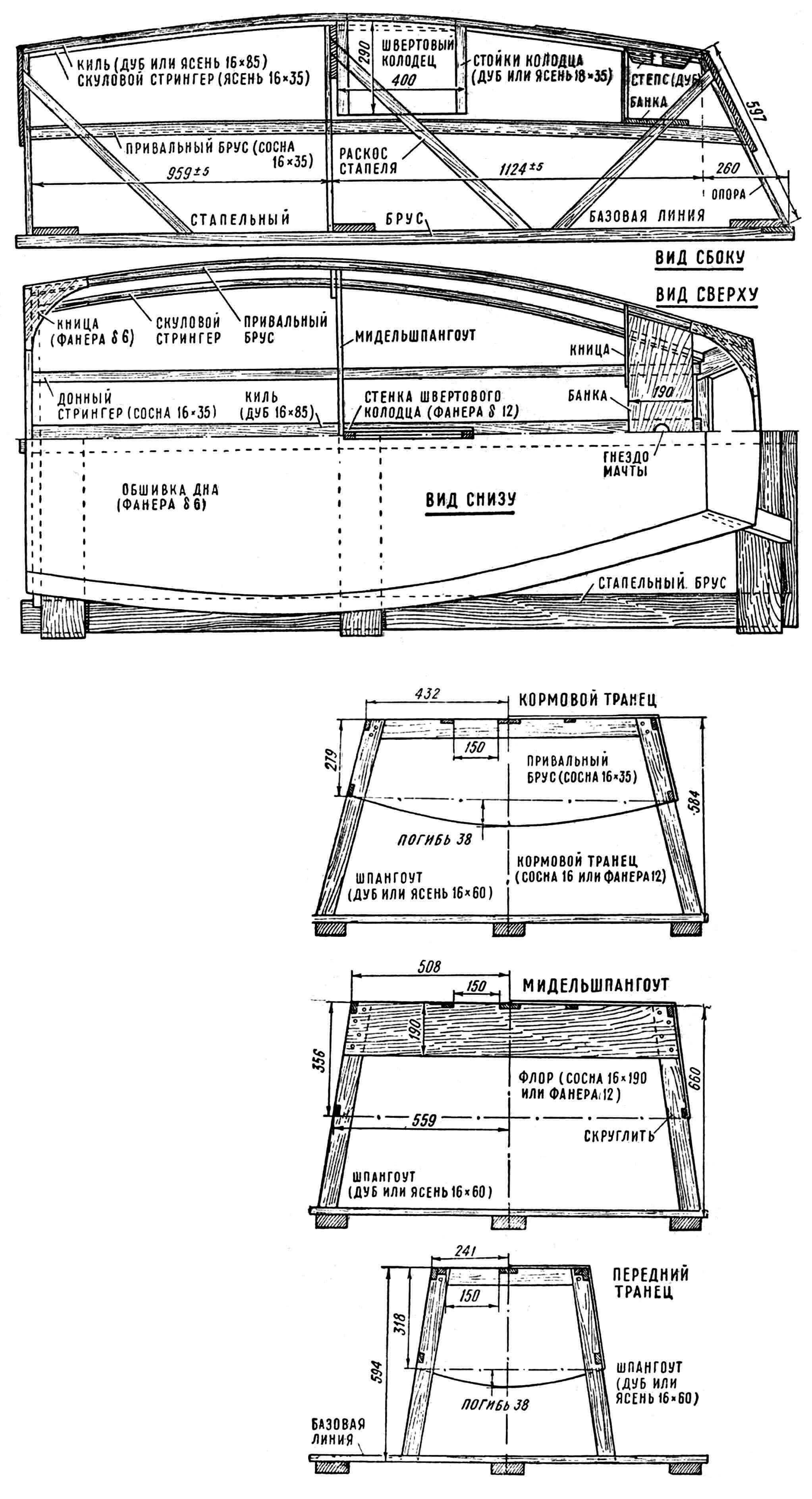 Pис. 2. Конструкция шпангоутных рамок и корпуса швертбота «Оптимист».
