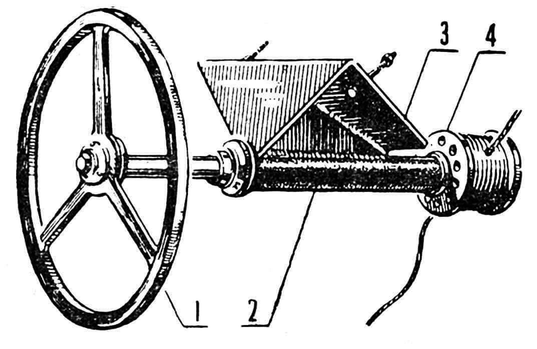 Рис. 2. Колонка с рулевым колесом автомобильного типа: 1 — рулевое колесо из авиафанеры; 2— колонка; 3 — угольник крепления колонки к бимсу; 4 — рулевой барабан.