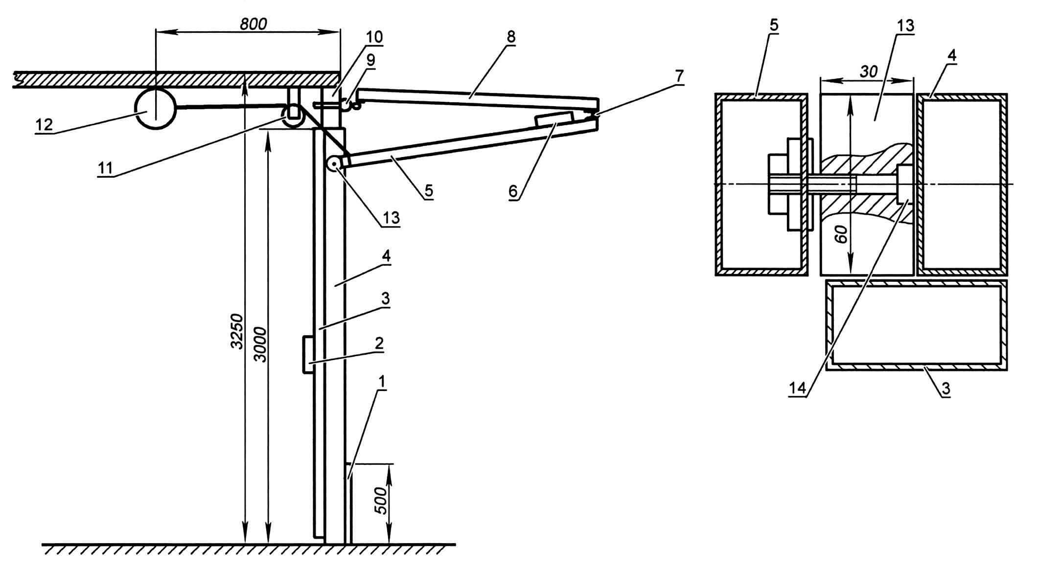 Монтаж ворот в проеме и схема установки ролика: 1 - пластина запорно-ограничивающая; 2 - электрозамок; 3 - профиль 30x60 (упорный); 4 - профиль 30x60 (проем); 5 - нижняя створка ворот; 6 - «ушко» электрозамка; 7 - петля бытовая; 8 - верхняя створка ворот; 9 - петля грузовая; 10 - верхняя поперечная балка проема; 11 - ролик для троса; 12 - электротельфер; 13 - ролик ворот; 14 - болт М10 термоупрочненный