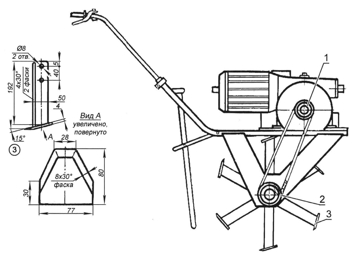 Электрофреза со снятыми транспортировочными колесами: 1 - ведущая звездочка Z1 = 15 или Z1 = 13; 2 - ведомая звездочка Z2 = 15; 3 - нож.