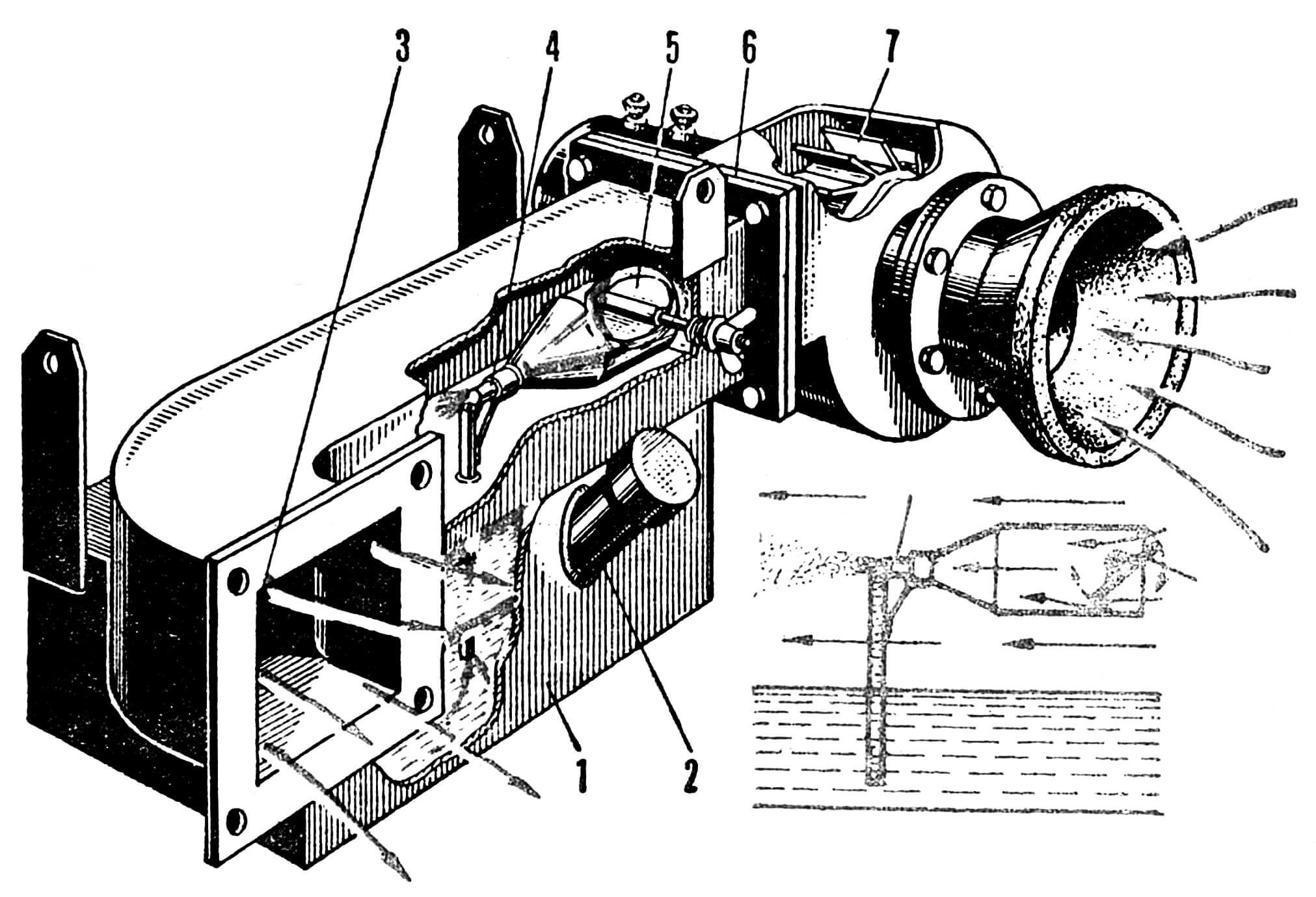 РИС. 2. ИСПАРИТЕЛЬНАЯ УСТАНОВКА С ПУЛЬВЕРИЗАТОРОМ: 1 — бак с водой; 2 — заливная горловина; 3 — отверстия для выпуска воздуха; 4 — пульверизатор; 5 — заслонка пульверизатора; 6 — фланцевое соединение; 7 — вентилятор с мотором.
