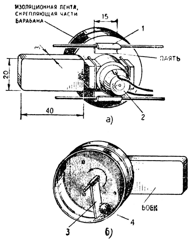 РИС. 2. КОНСТРУКЦИЯ ПОДВИЖНОЙ ЧАСТИ ВИБРАЦИОННОГО ДВИЖИТЕЛЯ: 1 — втулка; 2 — электродвигатель; 3 — лопасть; 4 — шарик.