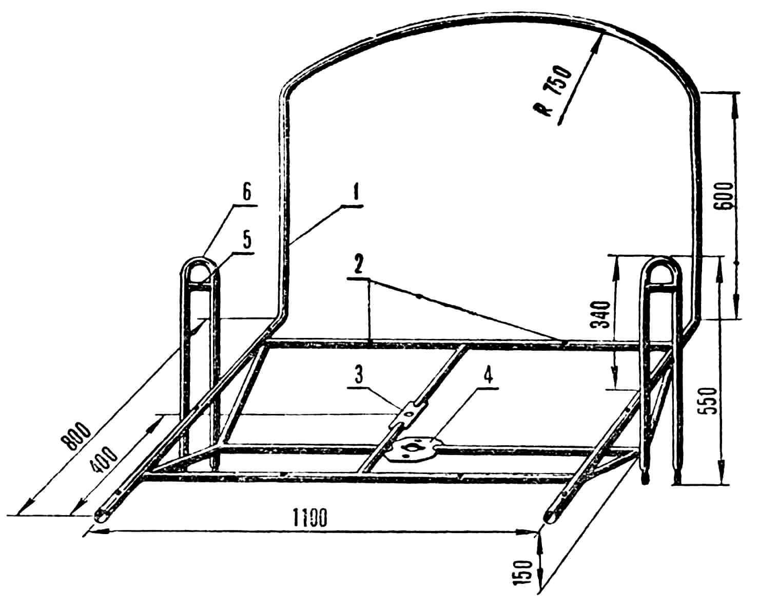 Рис. 3. Рама тележки: 1 — спинка-руль; 2 — отверстия для крепления ящика; 3 — верхняя планка; 4 — нижняя планка; 5 — кронштейн тормозов; 6 — боковая вилка.