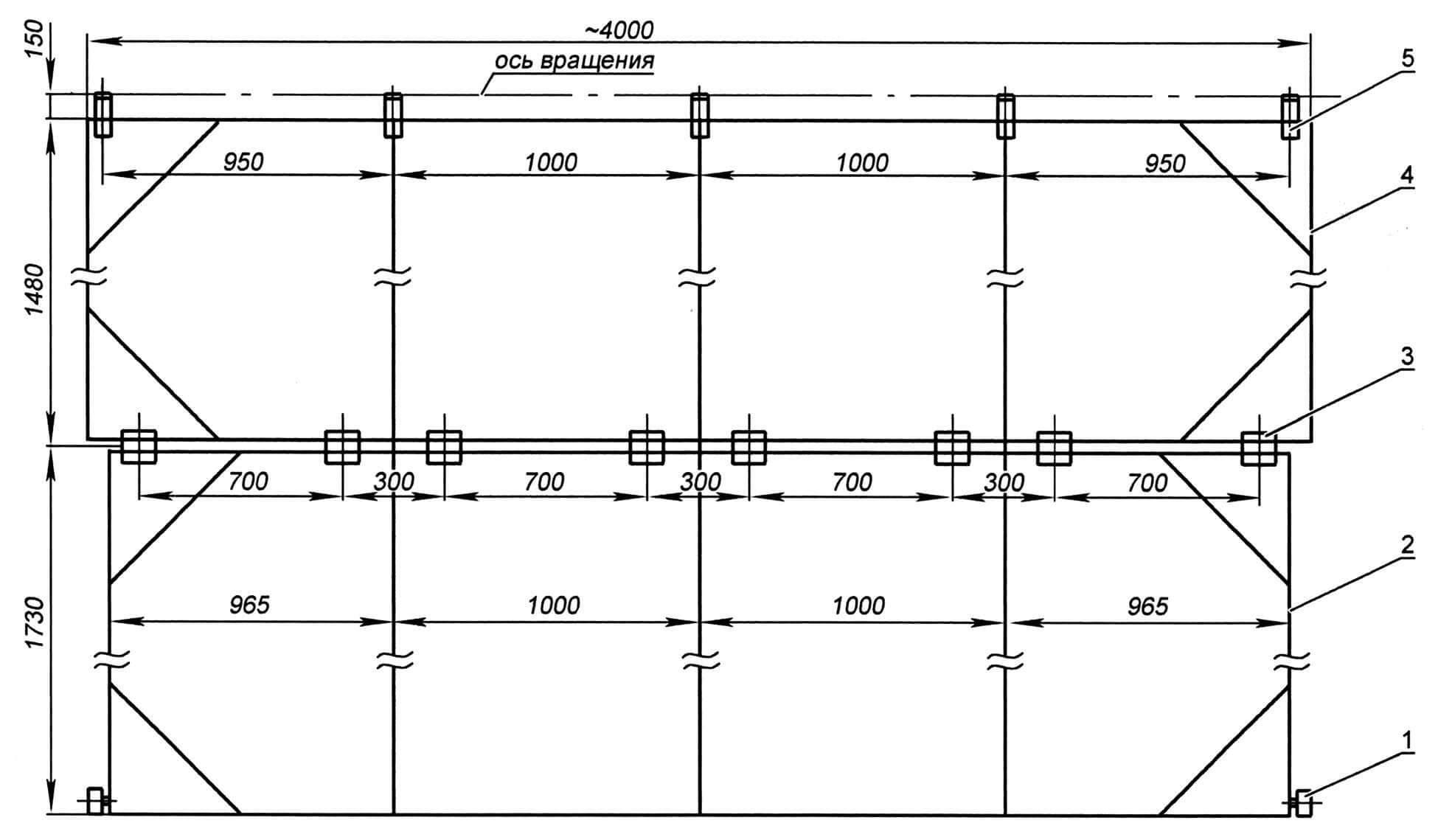 Складывающиеся по высоте гаражные ворота: 1 - ролик ворот; 2 - нижняя створка ворот; 3 - петля бытовая; 4 - верхняя створка ворот; 5 - петля грузовая