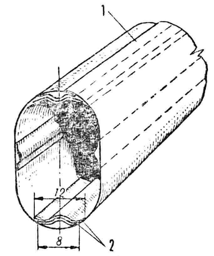 Рис. 3. Способ соединения половинок фюзеляжа: 1 — обшивка; 2 — лента.