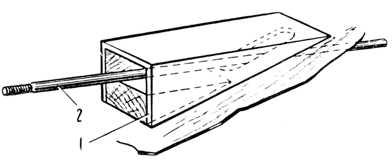 Рис. 3. Дейдвудный колодец: 1 — колодец; 2 — промежуточный вал.