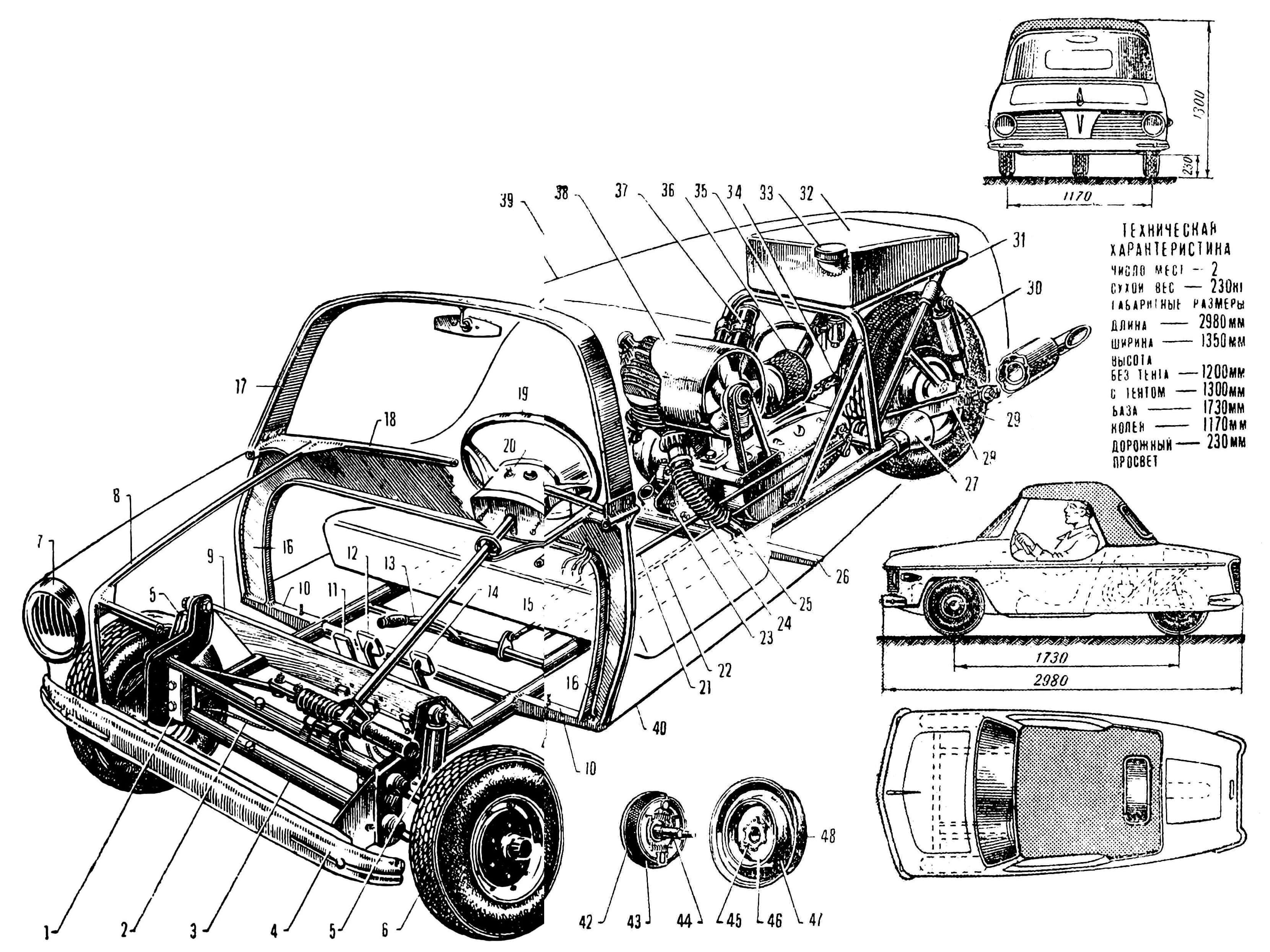 РИС. 1. ТРЕХКОЛЕСНЫЙ МИКРОАВТОМОБИЛЬ «СТАРТ»: 1 — узел крепления переднего моста к раме; 2 — трос переднего тормоза в гибкой оболочке; 3 — передний мост; 4 — передний бампер; 5 — амортизатор; 6 — переднее колесо (от мотороллера); 7 — фара; 8 — каркас; 9 — наклонная часть пола; 10 — поперечина рамы; 11 — педаль управления дроссельной заслонкой; 12 — педаль тормоза; 13 — рычаг ручного стартера; 14 — педаль сцепления; 15 — рычаг переключения передач; 16 — стенка рамы приборной доски; 17 — рамка ветрового стекла; 18 — каркас рамы приборной доски; 19 — рулевое колесо; 20 — пульт управления электросистемой, расположенный в ступице; 21 — тяга ручного стартера; 22 — тяга привода переключения передач; 23 — передний узел крепления двигателя; 24 — гибкая труба выхлопного патрубка; 25 — приемный патрубок, вваренный в продольную трубу рамы; 26 — кронштейн крепления пола; 27 — глушитель; 28 — маятниковая вилка; 29 — заднее колесо; 30 — амортизатор; 31 — рамка подвески заднего колеса; 32 — бензобак; 33 — заливная горловина; 34 — ведущая цепь; 35 — бензопровод; 36 — воздушный фильтр карбюратора; 37 — катушка зажигания; 38 — кожух принудительного охлаждения двигателя; 39 — контур задней части кузова; 40 — пол; 41 — болты крепления кузова; 42 — опорный диск тормозных колодок; 43 — тормозные колодки; 44 — полуось; 45 — фланец ступицы; 46 — диск ступицы; 47 — тормозной барабан; 48 — диск колеса.