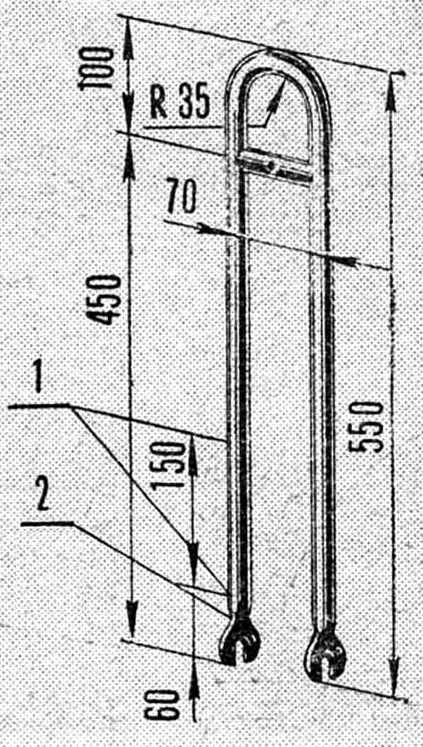 Рис. 4. Боковая вилка: 1 - места приварки к раме; 2 - пластины изготовить по размерам на передней вилке.