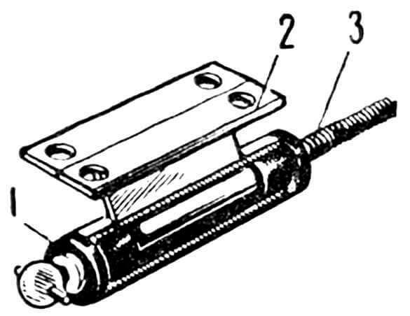 Рис. 5. Кронштейн с валом гребного винта: 1 — скользящий подшипник (втулка); 2 — кронштейн; 3 — вал гребного винта.