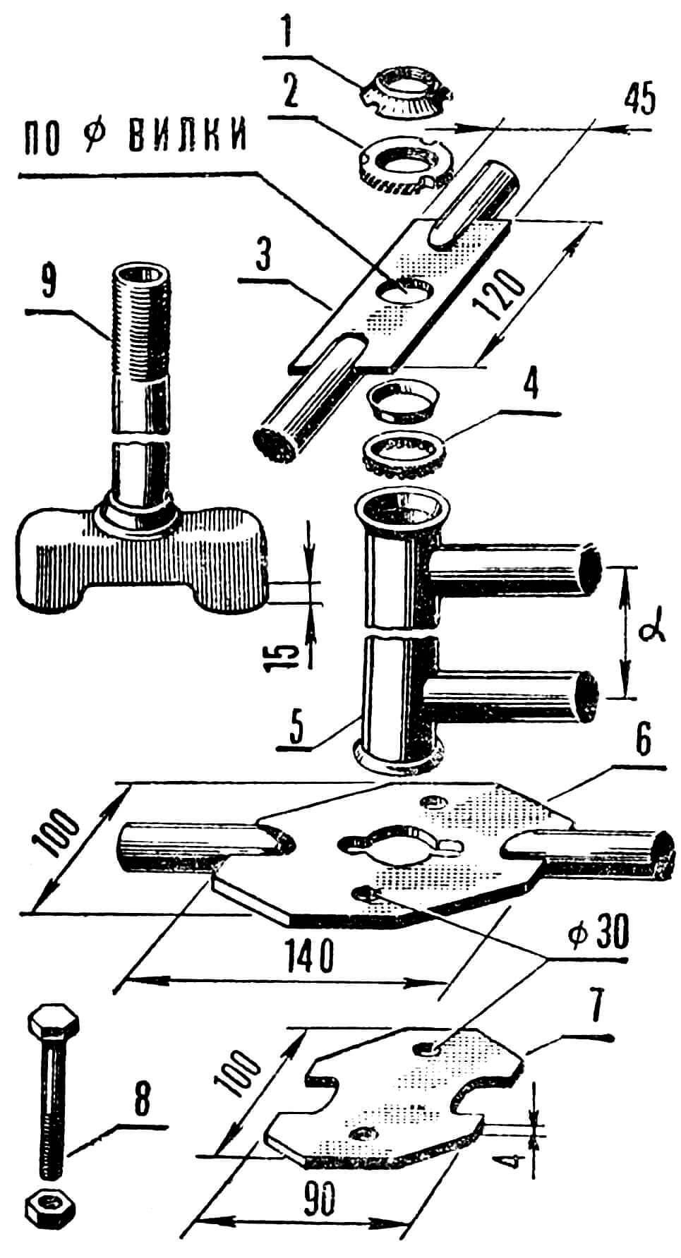 Рис. 6. Схема монтажа: 1 — контргайка; 2 — гайка; 3 — верхняя планка; 4 — подшипник; 5 — рулевая колонка; 6 — нижняя планка; 7 — закрепляющая планка; 8 — болт М12 соединения планок и гайка М12.